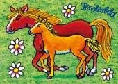 Fensterbild + Postkarte Pferd und Fohlen