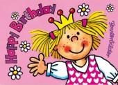 Fensterbild + Postkarte Prinzessin Happy Birthday