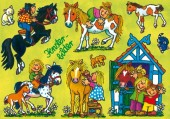 Fensterbild + Postkarte Ponyhof