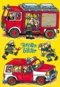 Fensterbild + Postkarte Feuerwehr