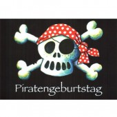 16-teiliges Einladungsset Piraten Jolly Roger