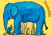 Fensterbild + Postkarte Elefanten