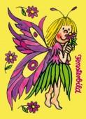 Fensterbild + Postkarte Blumenelfe