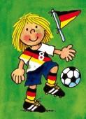 Fensterbild + Postkarte Fußball Mädchen