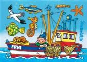 Fensterbild + Postkarte Krabbenfischer