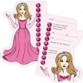 6 Einladungskarten Prinzessin