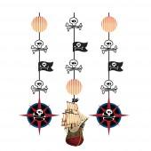 3x Hängedekoration Schatzkarte Pirat