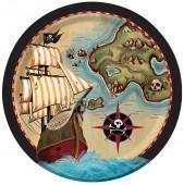 8 Teller Schatzkarte Pirat