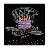 16 Servietten Black Happy Birthday