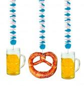 3x Hängedekoration Bier & Brezel