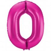 Folienballon Zahl 0 - in Magenta