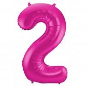 Folienballon Zahl 2 - in Magenta